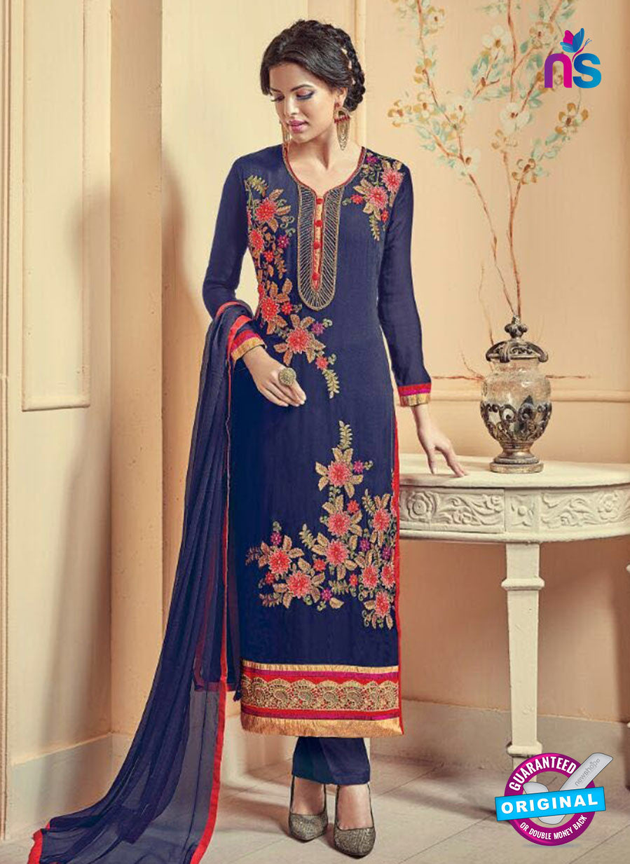 Kesari 5612 Blue Embroidered Georgette Party Wear Fancy Straight Suit