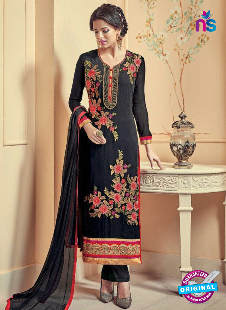 Kesari 5614 Black Embroidered Georgette Party Wear Fancy Straight Suit