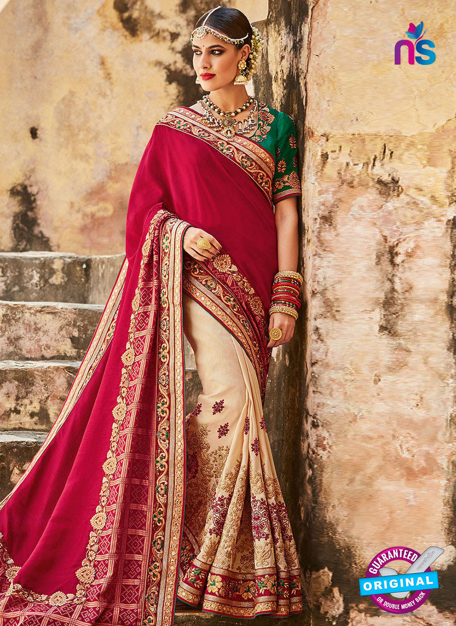 Kimora SA56 Beige Wedding Saree
