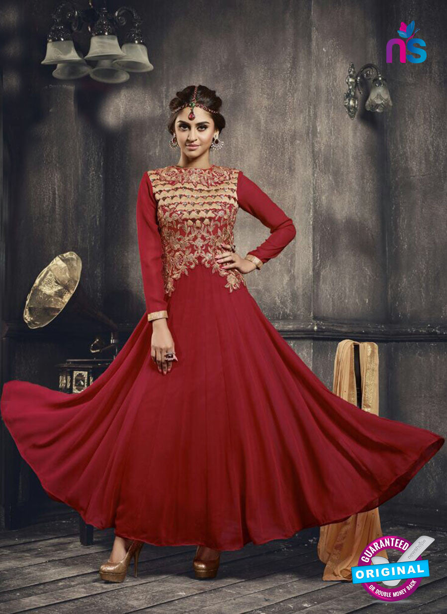 NS11045 Red and Golden Net and Georgette Anarkali Suit