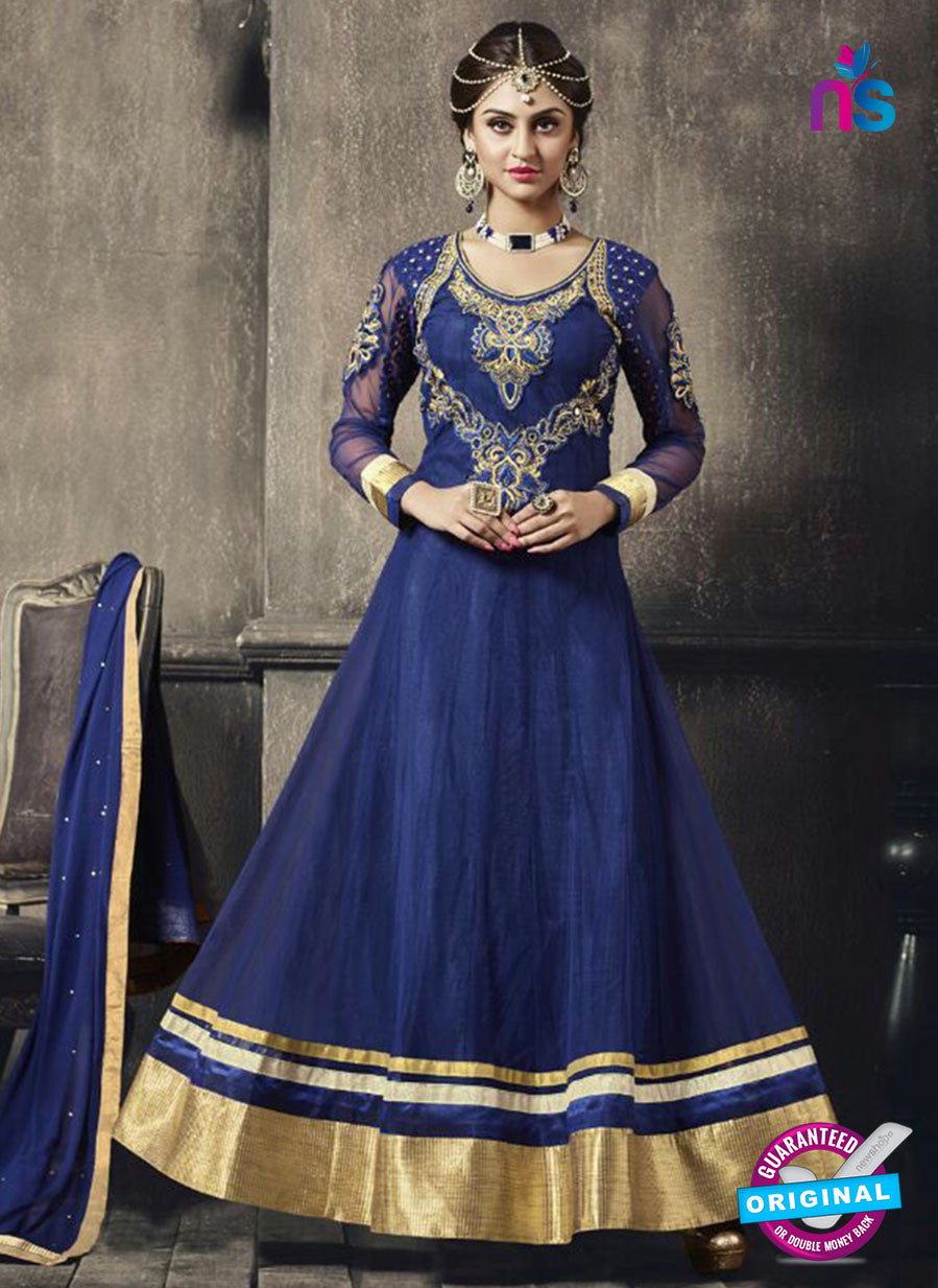 NS11046 Blue and Golden Net and Georgette Anarkali Suit