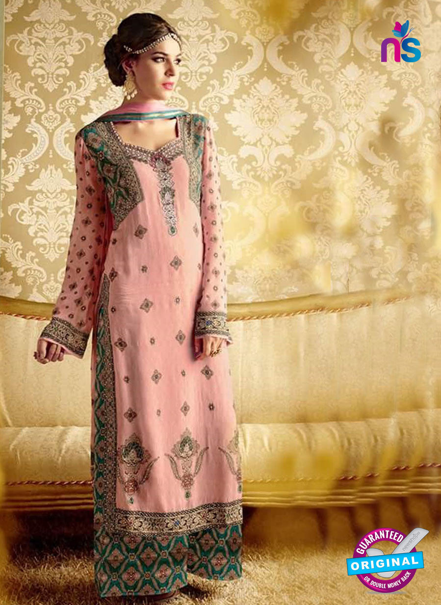NS10726 Pink and Sea Green Party Wear Pure Bamberg Georgette Designer Suit