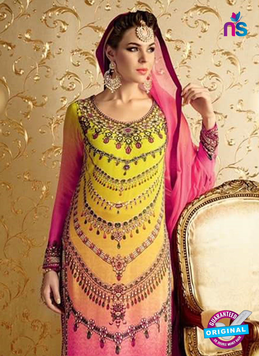 NS10727 Yellow and Magenta Party Wear Pure Bamberg Georgette Designer Suit