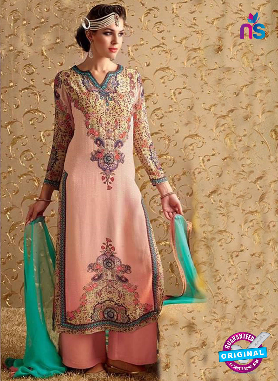 NS10728 Multicolor and Light Pink Party Wear Pure Bamberg Georgette Designer Suit