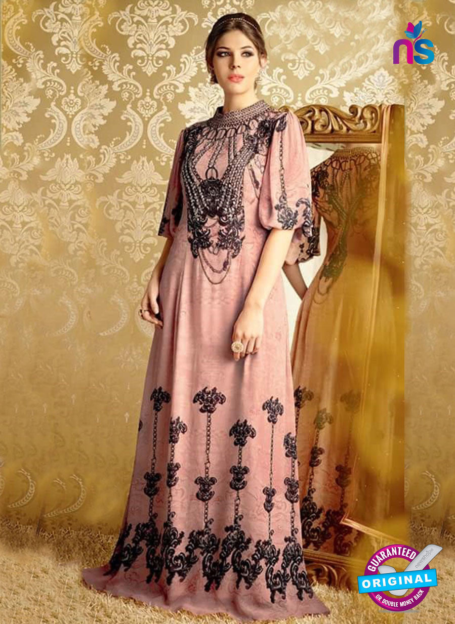 NS10729 Pink and Black Party Wear Pure Bamberg Georgette Designer Suit