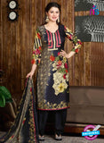 Rakhi 5728 A Black Tussar Silk Pashmina Winter Suit