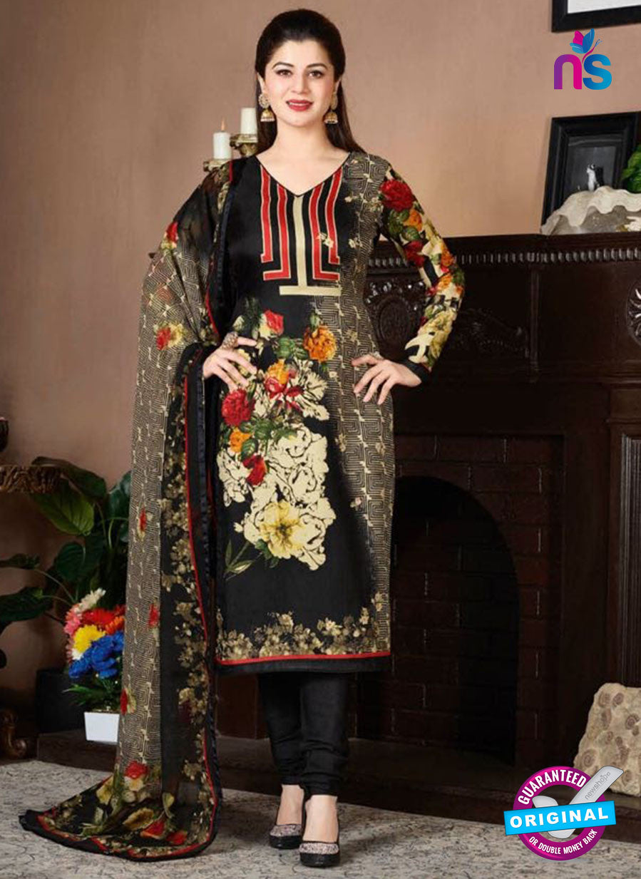 Rakhi 5728 B Black Tussar Silk Pashmina Winter Suit