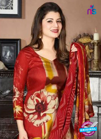 Rakhi 5729 A Red Tussar Silk Pashmina Winter Suit