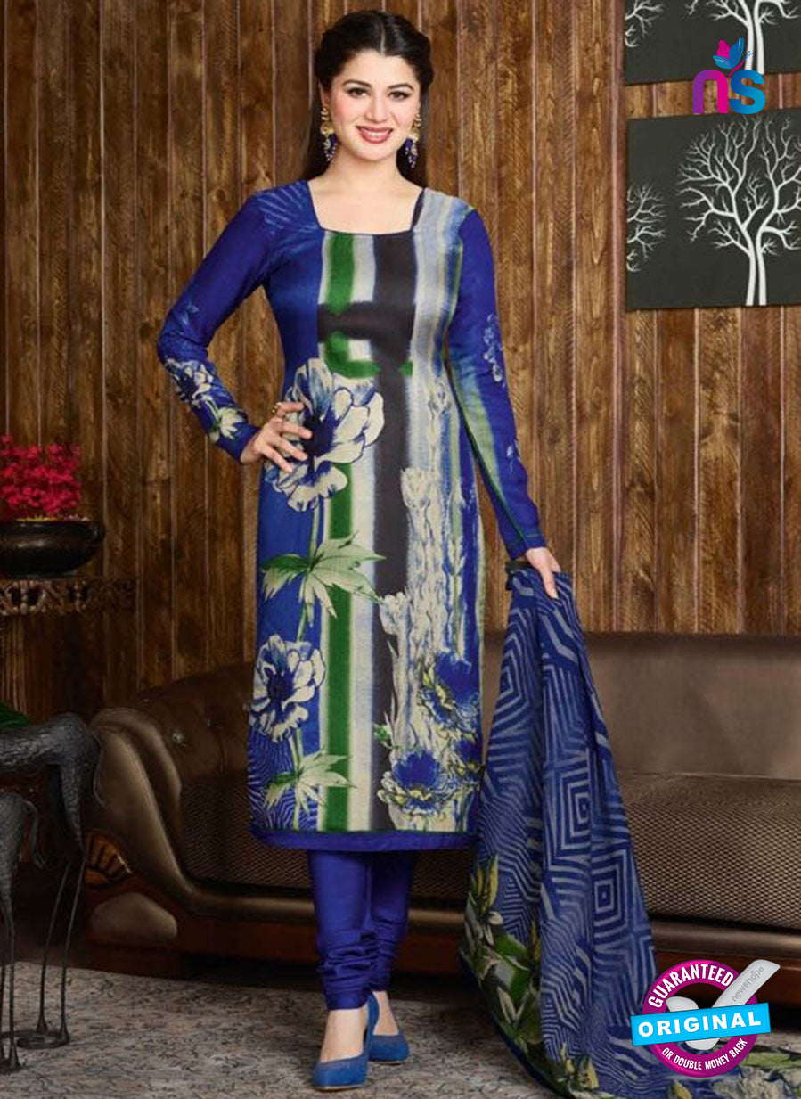 Rakhi 5729 B Blue Tussar Silk Pashmina Winter Suit