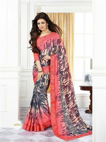 Vinay Fashion Star Walk 16984 Pink and Multicolor Casual Georgette Saree