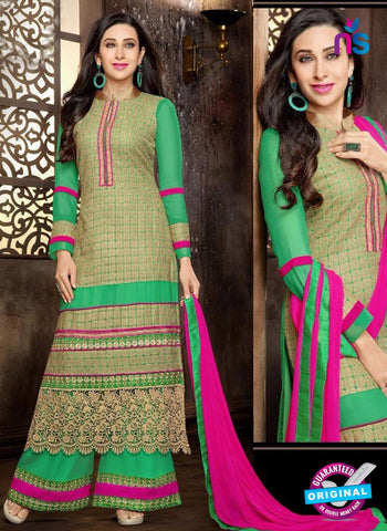 NS10327  Green and Magenta Georgette Straight Suit
