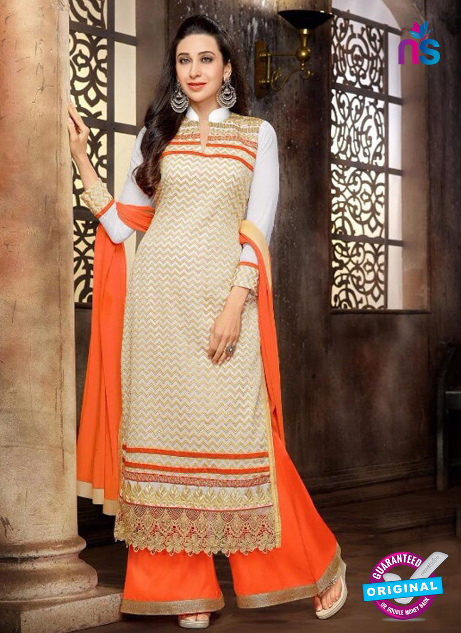 NS10328 Beige and Orange Georgette Straight Suit