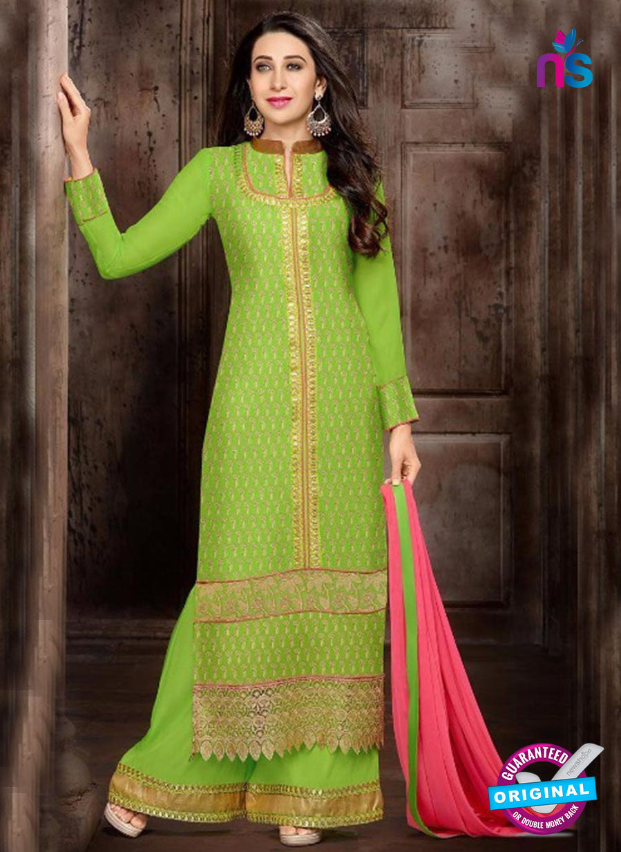NS10329 Green Georgette Straight Suit