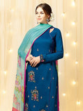 Heer 5801 Blue & Pink Color Cotton Satin Designer Suit