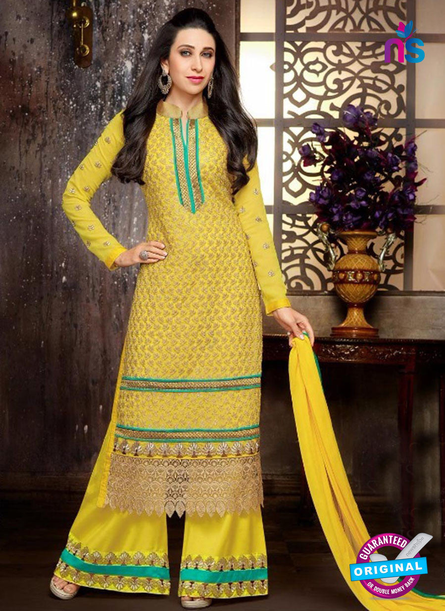 NS10330 Yellow and Green Georgette Straight Suit