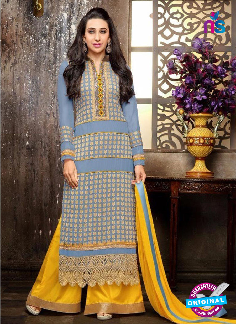 NS10332 Blue and Yellow Georgette Straight Suit