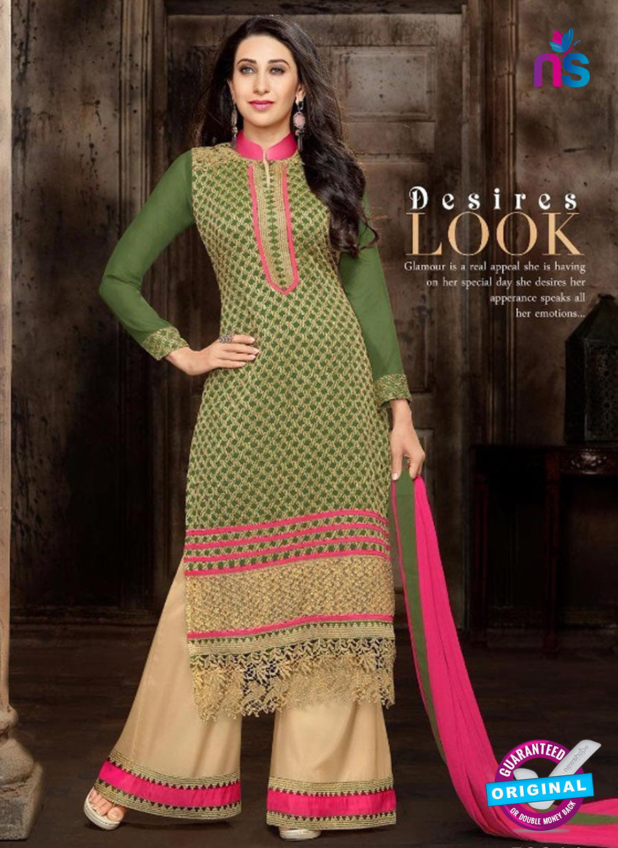 NS10333 Green and Pink Georgette Straight Suit