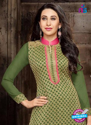 NS10333 Green and Pink Georgette Straight Suit Online