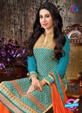 NS10334 Blue and Orange Georgette Straight Suit