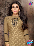 NS10335 Brown and Black Georgette Straight Suit
