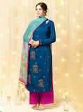 Heer 2611 Blue & Magenta  Color Cotton Designer Suit