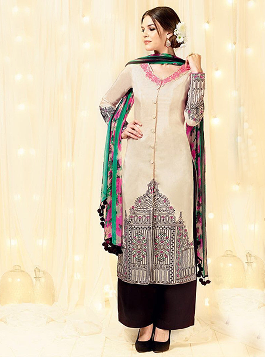 Heer 5803 Black & White Color Cotton Satin Designer Suit