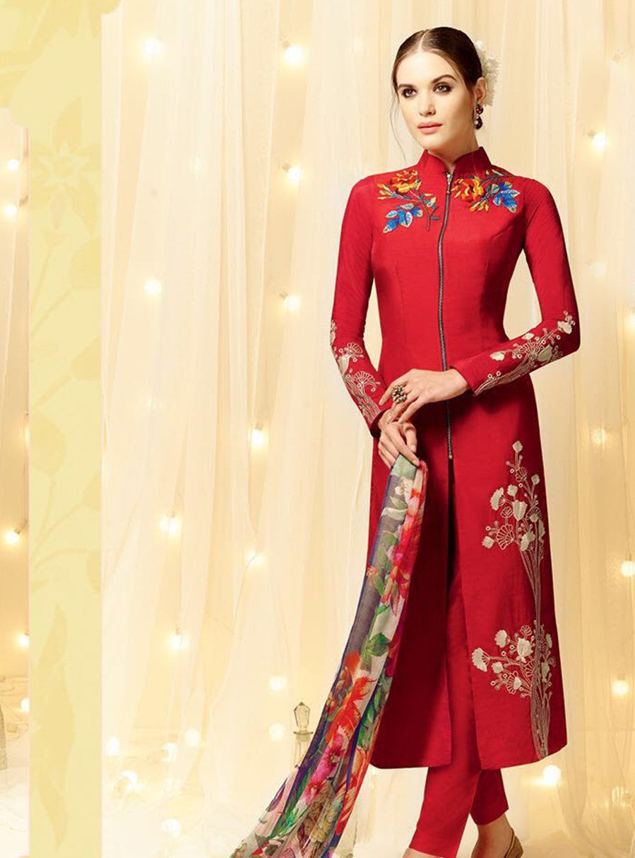 Heer 5804 Red Color Cotton Satin Designer Suit