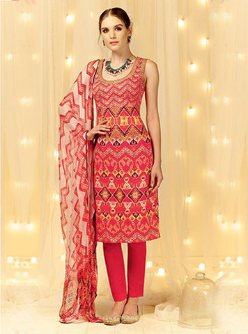 Heer 5806 Red Cotton Satin Designer Suit Online