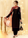 Heer 5807 Black Color Cotton Satin Designer Suit