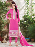 NS11884  Pink and White Cotton Satin Straight Suit