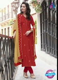 Haya 5891 Red and Beige Color Cotton Satin Designer Straight Suit