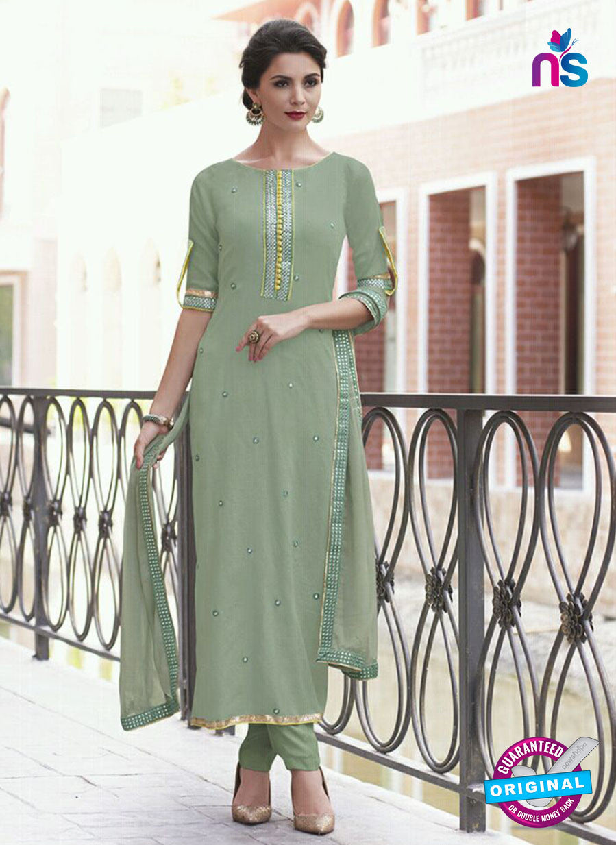 Haya 5895 Green Color Cotton Satin Designer Straight Suit