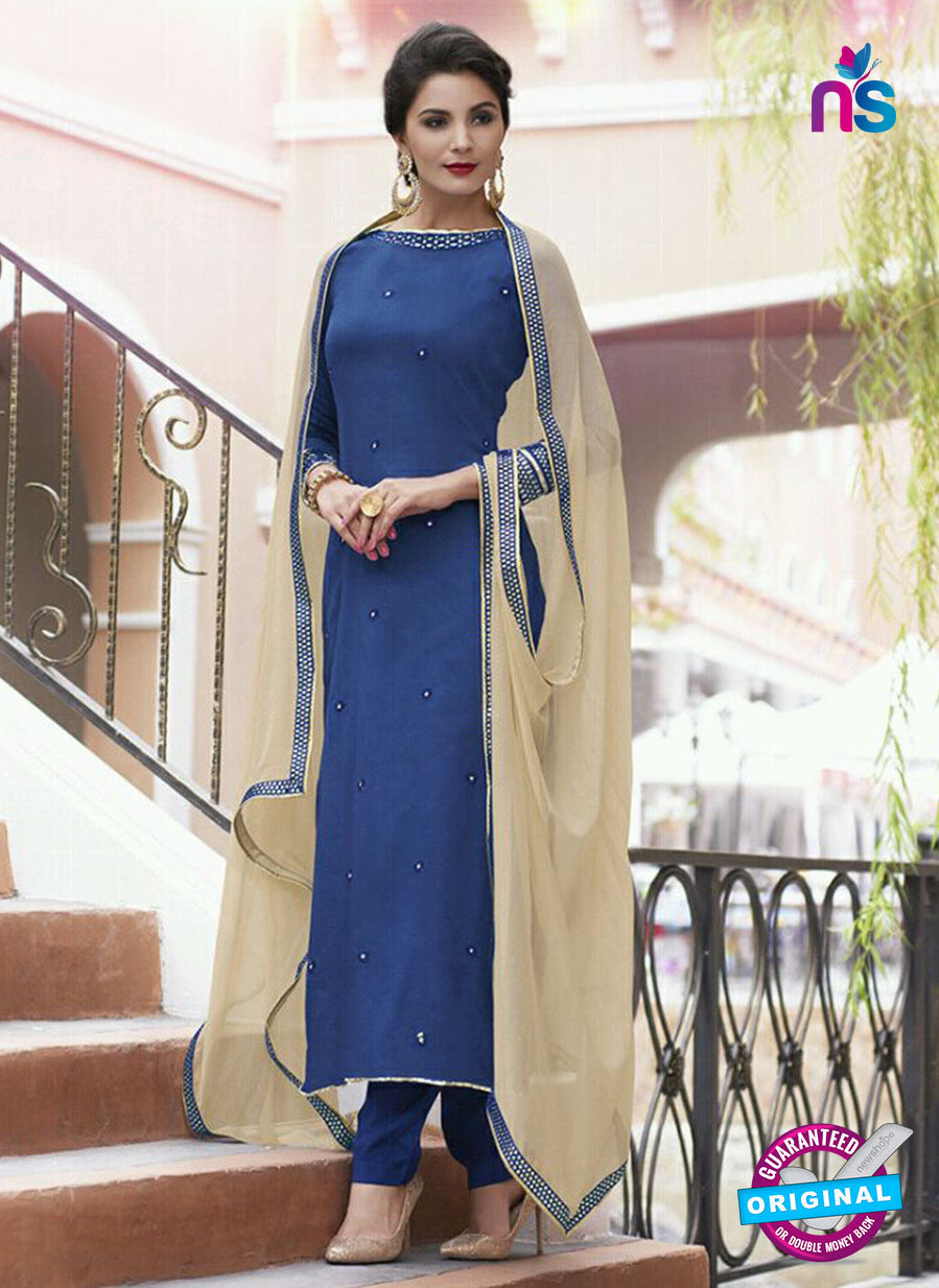 Haya 5899 Blue and Beige Color Cotton Satin Designer Straight Suit