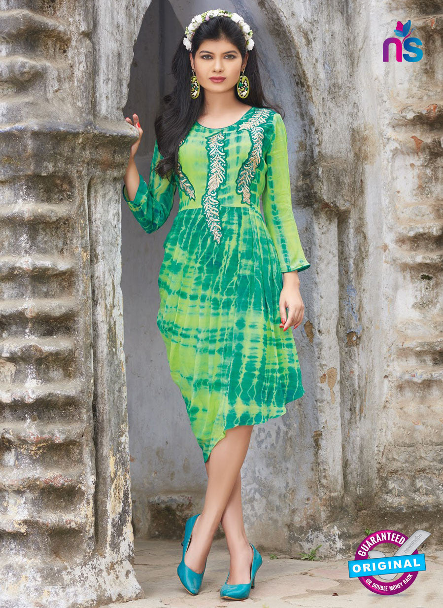 SC 12390 Green and Light Green Pure Georgette Party Wear Kurti