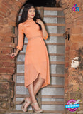 SC 12391 Peach Pure Georgette Party Wear Kurti