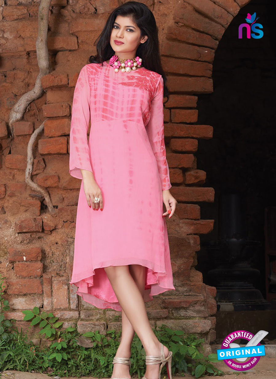 SC 12388 Pink Pure Georgette Party Wear Kurti