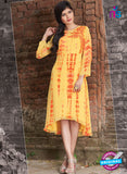 SC 12389 Yellow and Orange Pure Georgette Party Wear Kurti