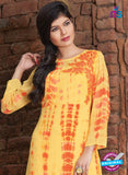 SC 12389 Yellow and Orange Pure Georgette Party Wear Tunic