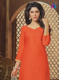 NS11334 Orange and Grey Daily Wear Straight Suit