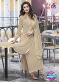 Haya 5900 Beige Color Cotton Satin Designer Straight Suit