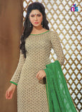 NS11335 Cream and Green Daily Wear Straight Suit