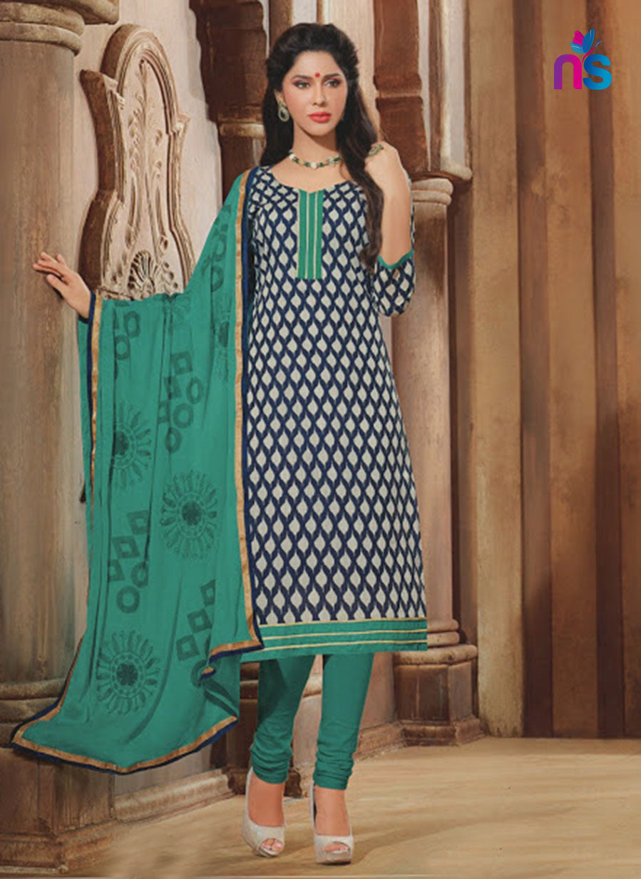 NS11336 DarkBlue Cream and AquaGreen Daily Wear Straight Suit