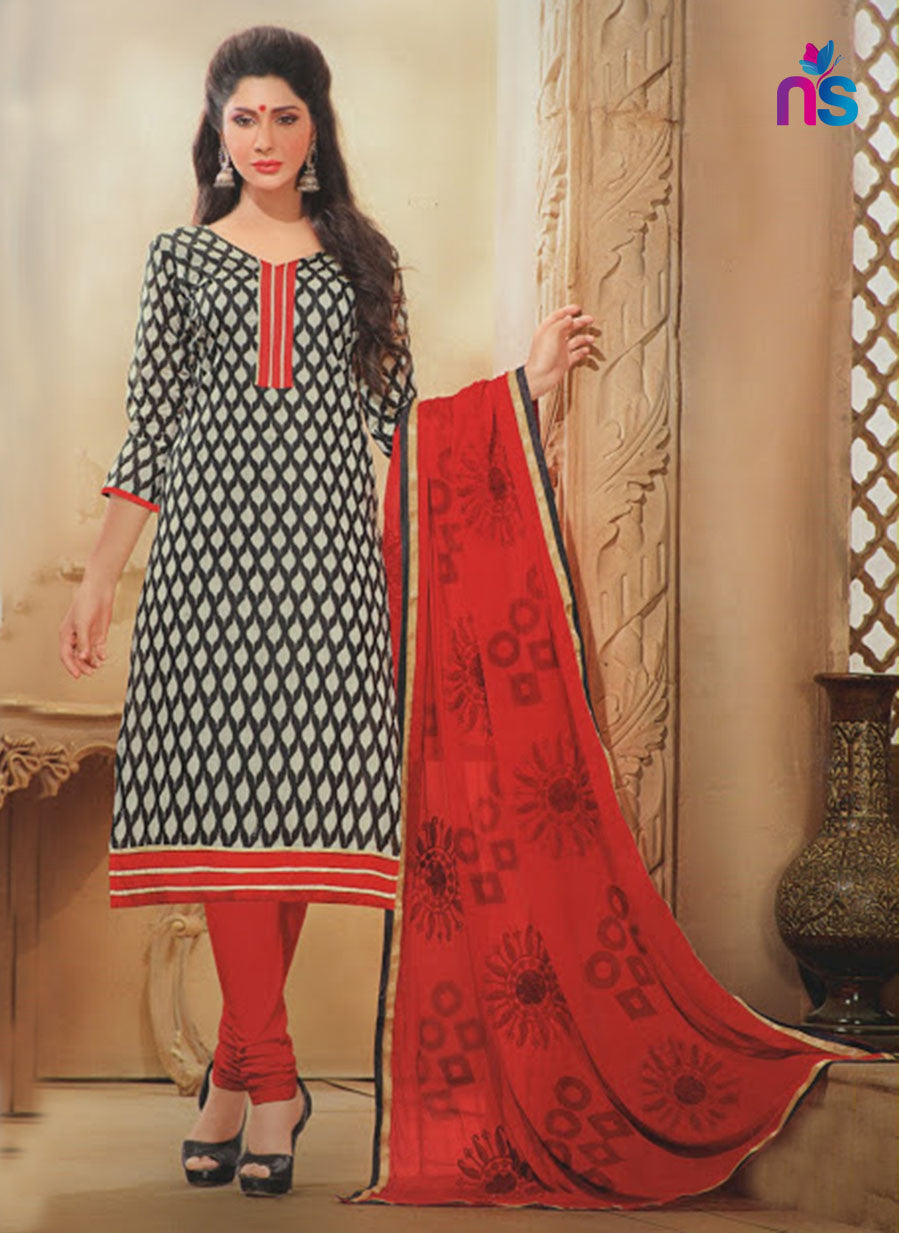 NS11337 Black Cream and Red Daily Wear Straight Suit