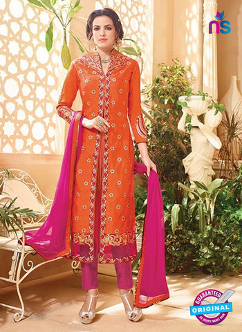 SC 13145 Orange and Pink Embroidered Silk Party Wear Designer Suit