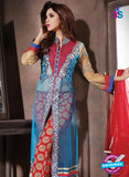 NS10940 Sky Blue and Red Georgette Party Wear Designer Suit Online