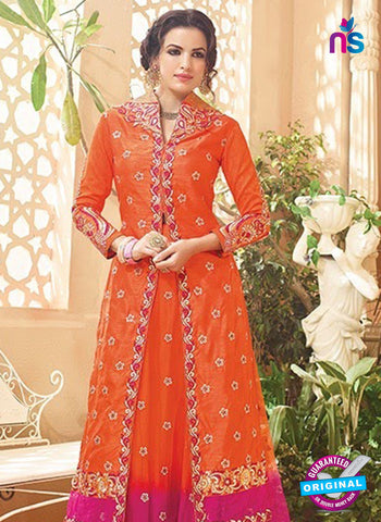 SC 13145 Orange and Pink Embroidered Silk Party Wear Designer Suit Online