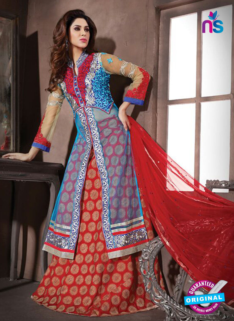NS10940 Sky Blue and Red Georgette Party Wear Designer Suit