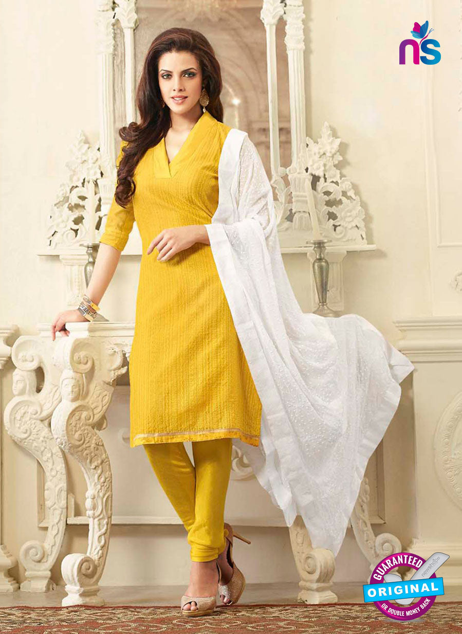 NS10986  Yellow and White Chanderi Designer Chudidar Suit