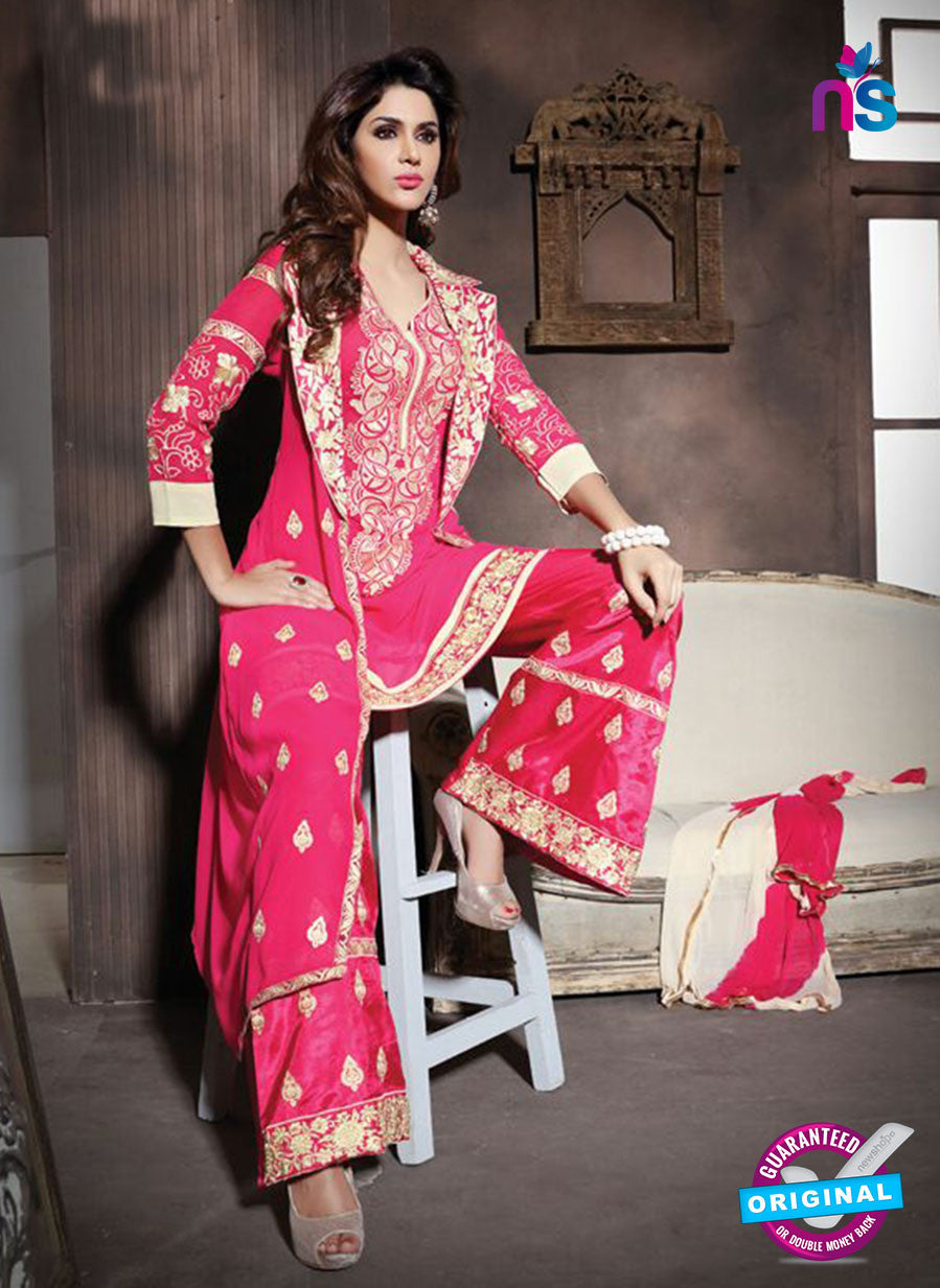 NS10941 Pink and Beige Georgette Party Wear Designer Suit