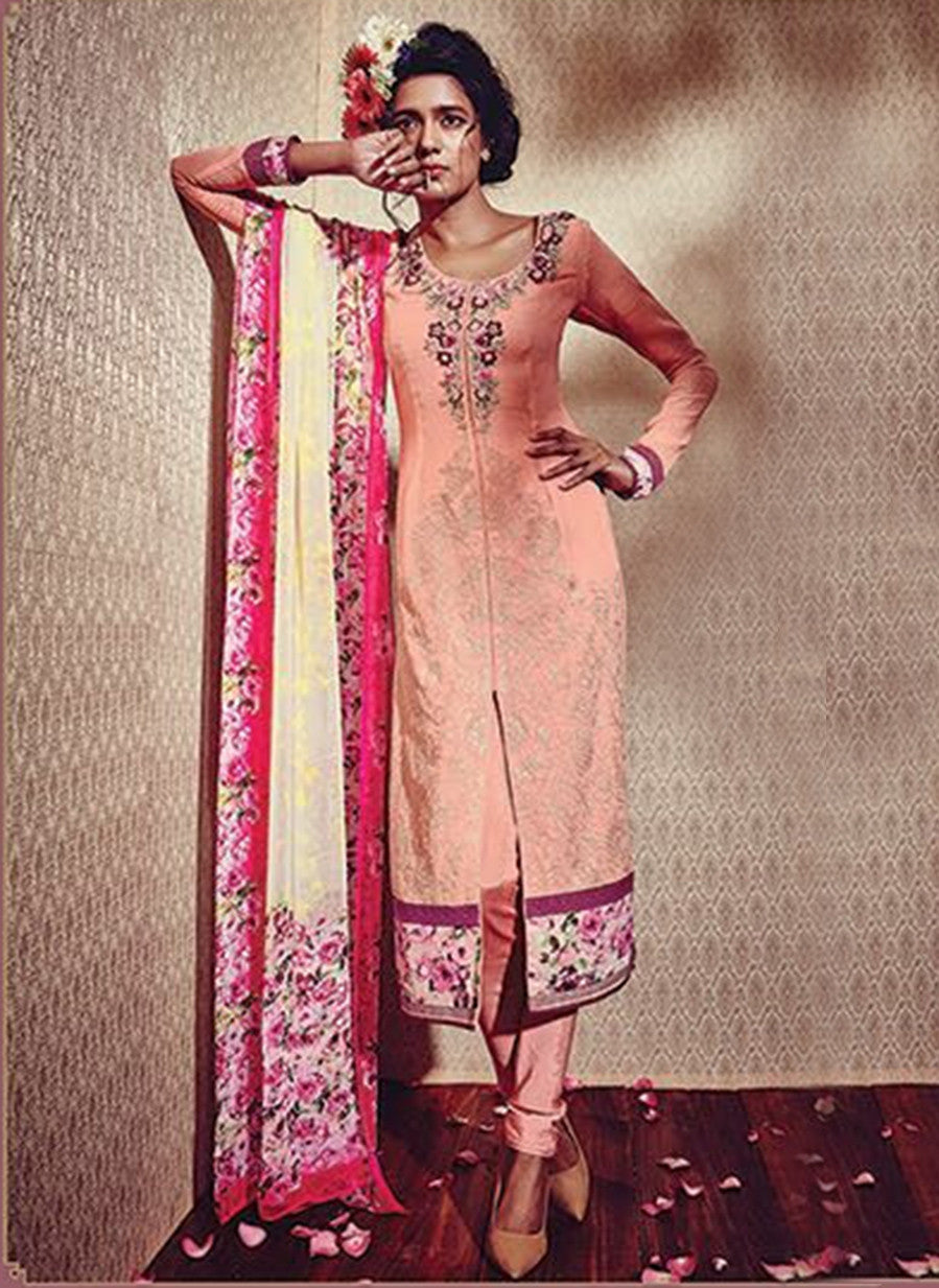Heer 5902 Peach Color Georgette Designer Suit